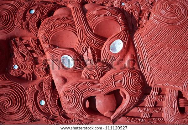 This image shows a Maori carving - Rotorua, New Zealand