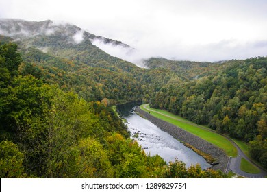 This image was taken by the Fontana Dam near Bryson City, NC, and is 480 feet in height. It formed Fontana Lake, on the southern border of  Smoky Mts. NP and the northern border of Nantahala NF.