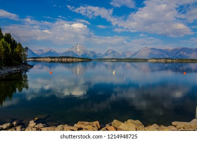 This image was taken near the Jackson Lake Dam in the Grand Teton National Park in Wyoming. The Teton Range can be seen when looking across the lake.