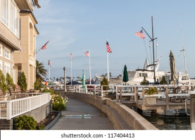 This is an image taken on the outer walking trail of Balboa Island in Newport Beach, California.