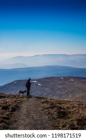 This image taken on Sugar loaf mountain in the Beacon Beacons in wales. it features a hiker and their dog no the edge of a hill, looking over a grand vista rolling in to the background.