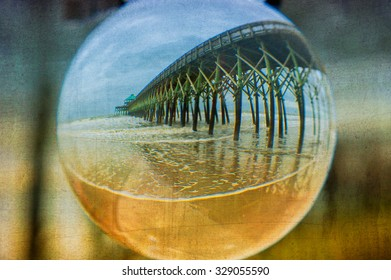 This image was taken using a crystal ball at Folly Beach, South Carolina. An additional texture was used in post processing for added creativity.