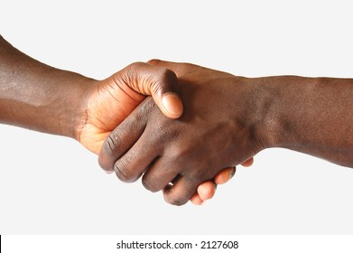 This is an image of two hands performing a left handed, handshake.