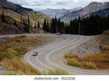 This is an image of the typical driving conditions in the San Juan Mountains in southwest Colorado.