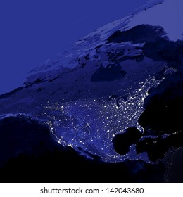 This image of United States city lights was created with data from the Defense Meteorological Satellite Program (DMSP) Operational Linescan System (OLS). N.A.S.A. Image Edited