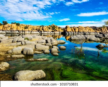 This image of Watson Lake was captured in the Granite Dells of Prescott, Arizona. There had recently been an algae bloom, which turned the lake a beautiful azure and green color.