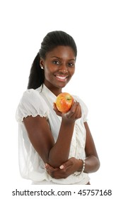 This is an image of a woman holding an apple.