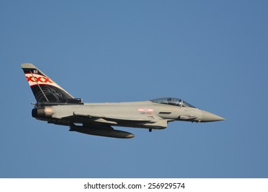 This is the impressive Eurofighter EF-2000 Typhoon FGR4 from the Royal Air Force (RAF) performing live at the airshow air14 in Payerne, Switzerland on the 6th of September 2014.