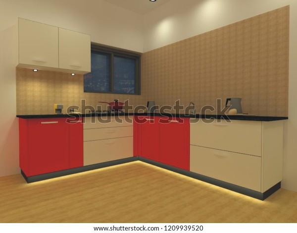 This Indian Modular Kitchen L Type Stock Photo Edit Now 1209939520