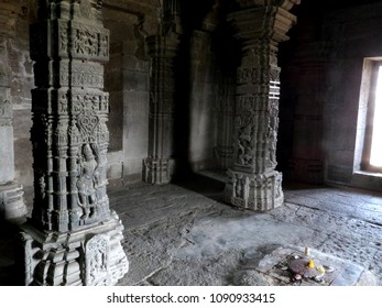 this is interior of sabha mandap of Gondeshwar temple in India