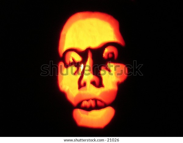 This is the jack-o-lantern I carved this past halloween. I thought the face was quite haunting up close.