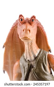 This is a Jar Jar Binks action figure. This Star Wars movie character made by Hasbro. /  Jar Jar Binks portrait / Komarom, Hungary - 28th December 2014