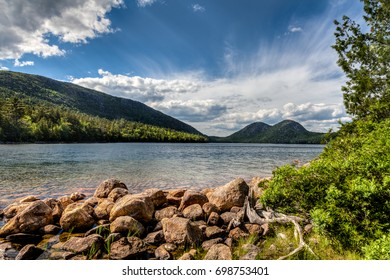 This is Jordan Pond in Acadia National Park in Maine