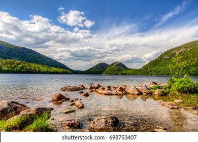 This is Jordan Pond in Acadia National Park in Maine