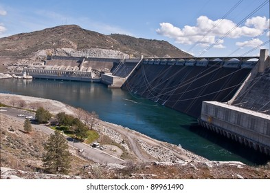 This is a landscape of Grand Coulee Dam in Washington State, one of the largest sources for hydro electric power on the Columbia River.  Located in Douglas County.