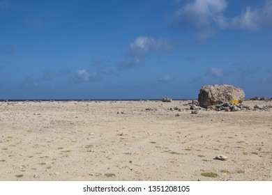This large rock was washed ashore onto the coast of tropical island Bonaire in the caribbean 3000 years ago by a Tsunami