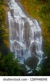 This is a less distant image of 411 ft. Upper Whitewater Falls in Nantahala National Forest, Transylvania County, off the Blue Ridge Parkway in North Carolina.