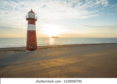 This lighthouse is located in the Netherlands in Westkapelle by the sea