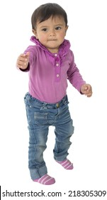 This little baby girl wear a purple shirt with a blue jeans