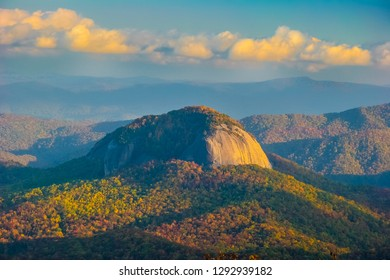 This is Looking Glass Rock near Brevard, NC, in Pisgah NF. In Winter the rock freeses, thus the name looking glass. It is a white granite pluton that rises 4000 ft. above the forest floor.