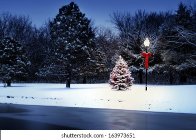 This magically lit Christmas Tree glows brightly on a snow covered Christmas morning in this rural Holiday Scene.