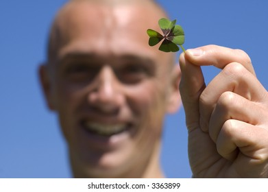 This man found a four leaf clover, it's his lucky day!