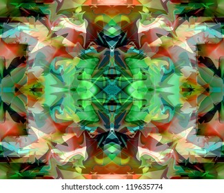 This is a mantra-like, kaleidoscopic abstract design that commands the eye.  It's strong, intense, dynamic and powerful, and can be used as a background or stand alone.