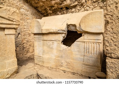 This marble sarcophagus is still in Olympos, 60km south-west from Antalya in Turkey. Olympos City archaeological site. Ancient Harbour Monumental Tombs. Antalya-Turkey