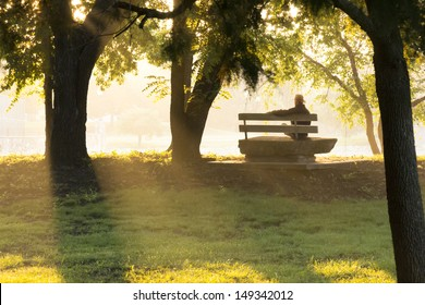 This mature adult male sits on a stone park bench at sunrise, in thought, contemplating life's challenges, surrounding by golden autumn leaves and beams of sunlight.