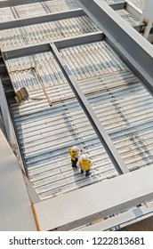 This metal platform support is used to create floors in a construction Sheets used to construct floors and roofs in construction sites