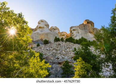 This is the Mount Rushmore National Memorial in the Black Hills National Forest, South Dakota.