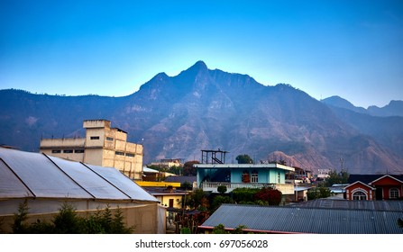 "This Mountain ist called ""Face of a sleeping Mayan"" and is between San Juan and Santa Clara at Lake Atitlan / Volcanic highlands of Atitlan in Guatemala / Rim of a giant volcanic crater"