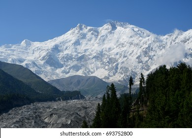 This is Nanga parbat mountains from Fairy meadows with snow-cap and blue sky in gilgit-baltistan , Pakistan