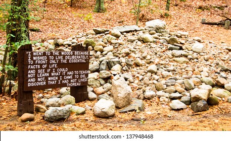This National Historic Landmark is the site of Henry David Thoreau's original cabin along Walden Pond in Concord, MA. Visitors traditionally leave a rock on the site to honor Thoreau.
