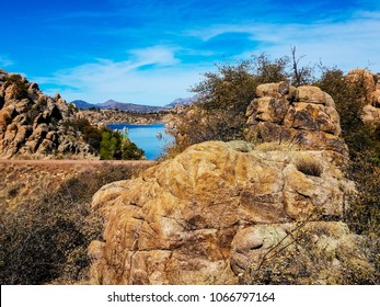 This is the new Easter Island Trail in the Granite Dells of Prescott, Arizona. Watson Lake and Granite Mountain are seen in the background.