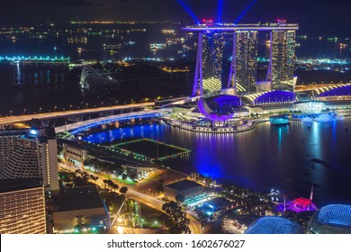This is the Night View of Bay Front Area in Singapore.
