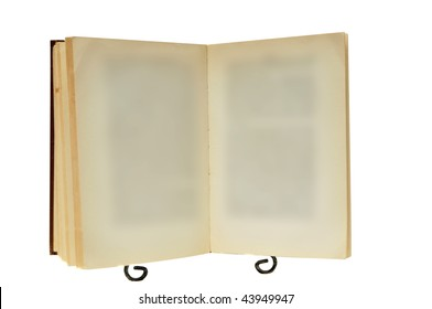 This is an old empty blank book on a stand isolated on a white background