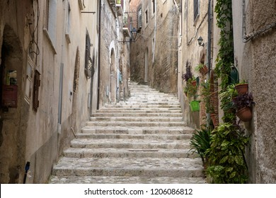 This is one of the alleys that go to the Medieval center of Caiazzo, a lovely town in the Italian region of Campania. Few tourists have found their way to the town and you can discover it quietly.
