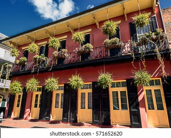 This is one of the buildings in the French Quarter of New Orleans, LA USA.  Many interesting doors and balconies are located in the Quarter.