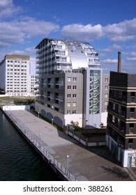 This is one of many residential  buildings in London's Docklands.