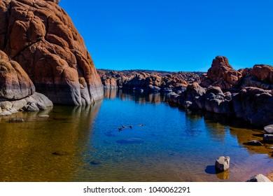 This is one of the numerous  beautiful granite cliffs surrounding Watson Lake in the Granite Dells of Prescott, Arizona.