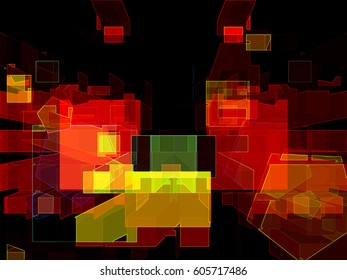 This is one of a series of dynamic abstract geometric images created to please the eye with color and shape relationships.