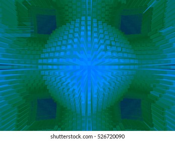 This is one of several series of intense spatial abstracts emphasizing depth and dimension, with optical impact resulting from spatial illusion and high color.