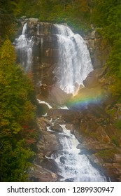 This is a part of 411 ft. Upper Whitewater falls off the Blue Ridge Parkway in Nantahala NF, Transylvania County, North Carolina. A beautiful rainbow is seen in this image.