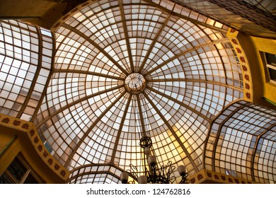 This part of windows is part of Black Eagle Passage, Art Nouveax.