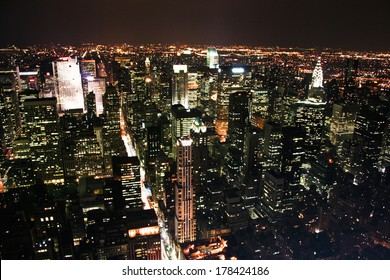 This is a partial view of a city's buildings and structures against the sky of New York