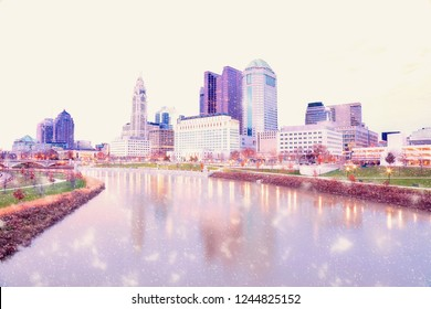 This is a pastel view of the Columbus, Ohio skyline along the Scioto River with soft snow falling in the winter.