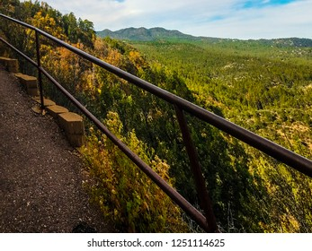 This path leads to the top of Thumb Butte Trail in Prescott, AZ in the Prescott National Forest. Railings are used, as the drop off is quite large. Beautiful views are seen in most every direction.
