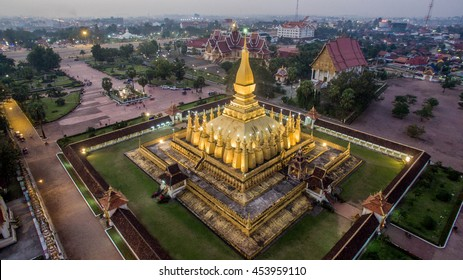 This is PhaThatLuang. It is a gold-covered large Buddhist stupa in the center of Vientiane, Laos. It is generally regarded as the most important national monument in Laos and a national symbol