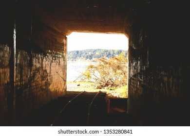This is a photo of an abandoned railroad tunnel leading to the puget sound. The framing and contrast between the foreground and background makes this photo look very surreal.